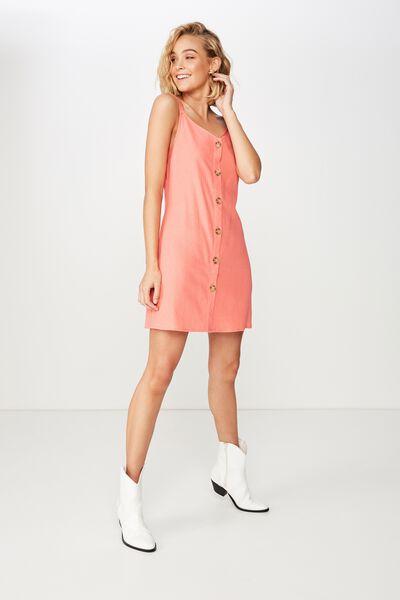 Woven Margot Slip Dress, BUTTON THROUGH PROCELAIN ROSE