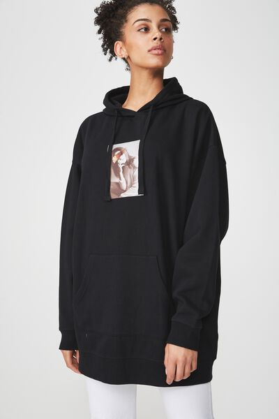 Clover Longline Graphic Hoodie, BRUSH PORTRAIT/BLACK