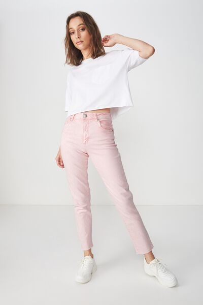 High Rise 90S Stretch Jean, BABY PINK ACID
