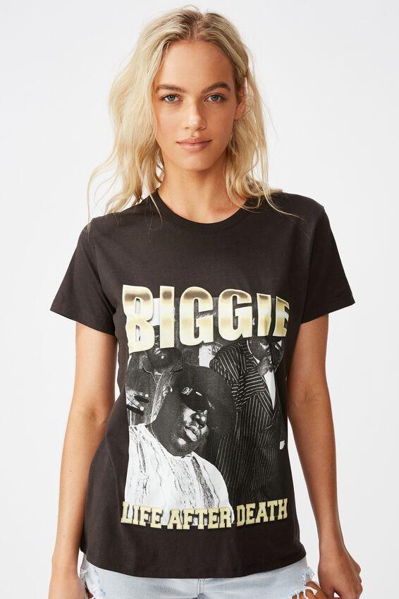 Classic Hip Hop T Shirt, LCN MT BIGGIE SMALLS LIFE AFTER DEATH/WASHED BLACK