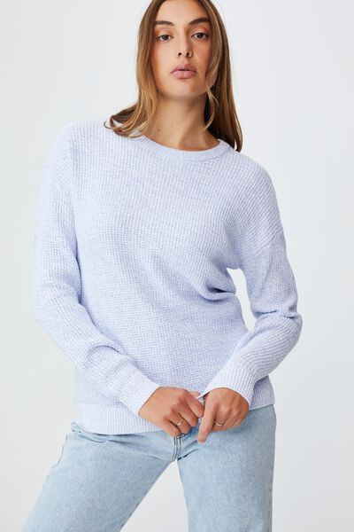 Cotton Pullover, DUSK BLUE WHITE TWIST