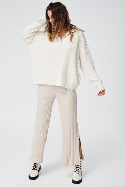 Wide Leg Pull On Pant, SILVER STONE