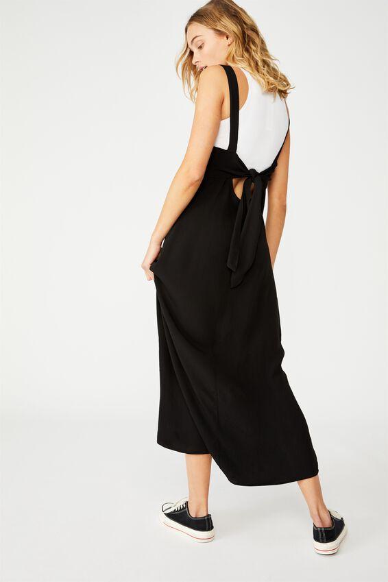 Woven Millie Tie Back Midi Dress, BLACK