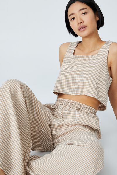 Day Dreamer Cropped Shell Top Petite, KAYLA MICRO GINGHAM BROWN TAUPE