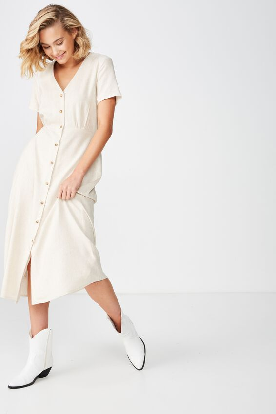 Woven Campbell Button Front Midi Dress, LATTE MARLE - L