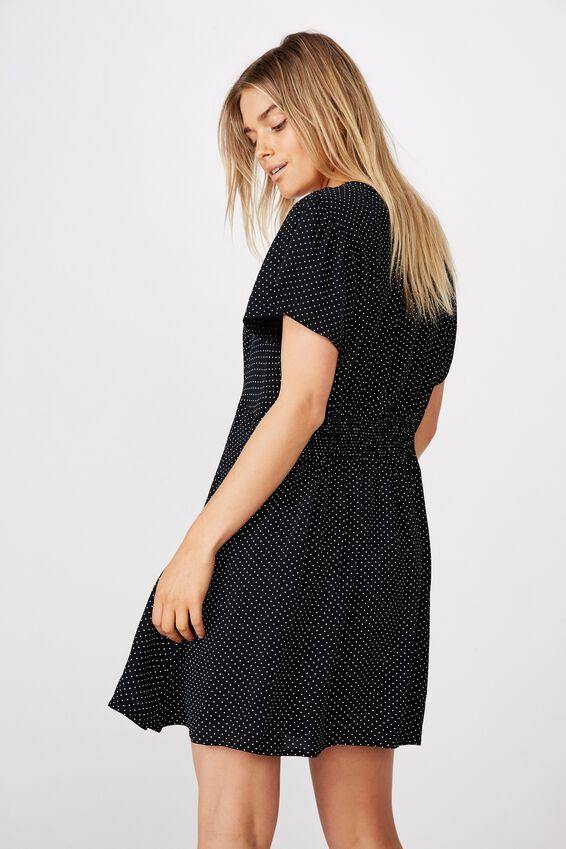 Woven Marissa Gathered Front Mini Dress, TIFFANY SPOT BLACK