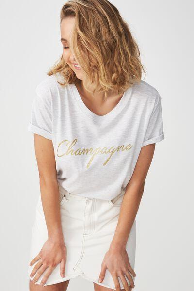 Tbar Fox Graphic T Shirt, CHAMPAGNE/SILVER MARLE