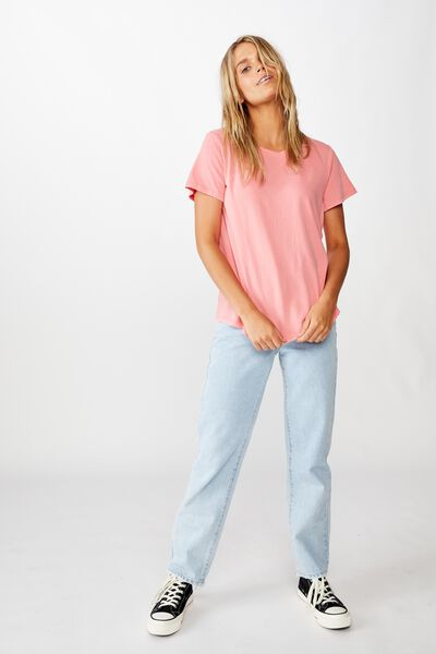 The One Crew Tee, WASHED VIBRANT ROSE