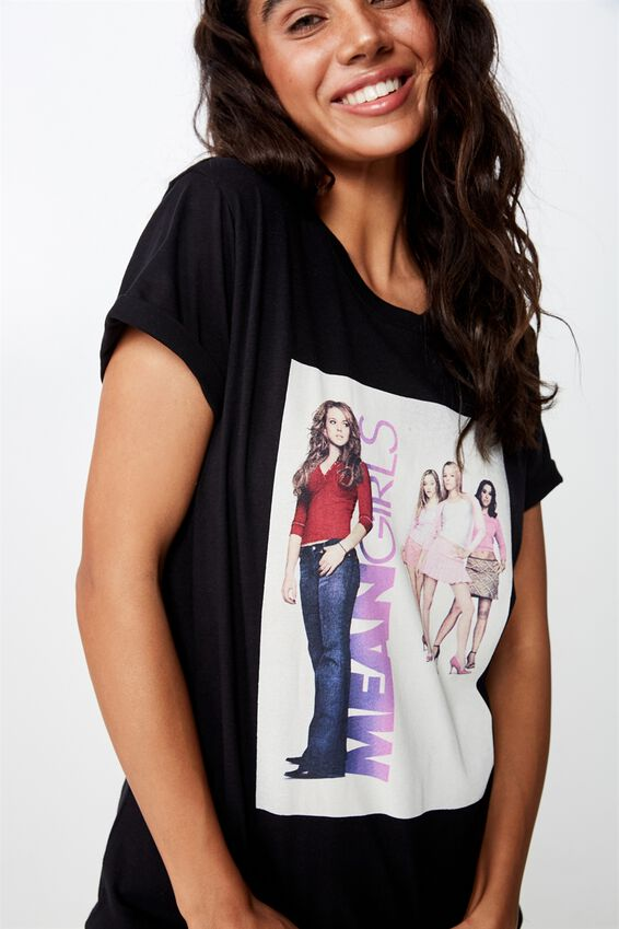 Classic Tv Movie T Shirt, LCN UNI MEAN GIRLS/BLACK