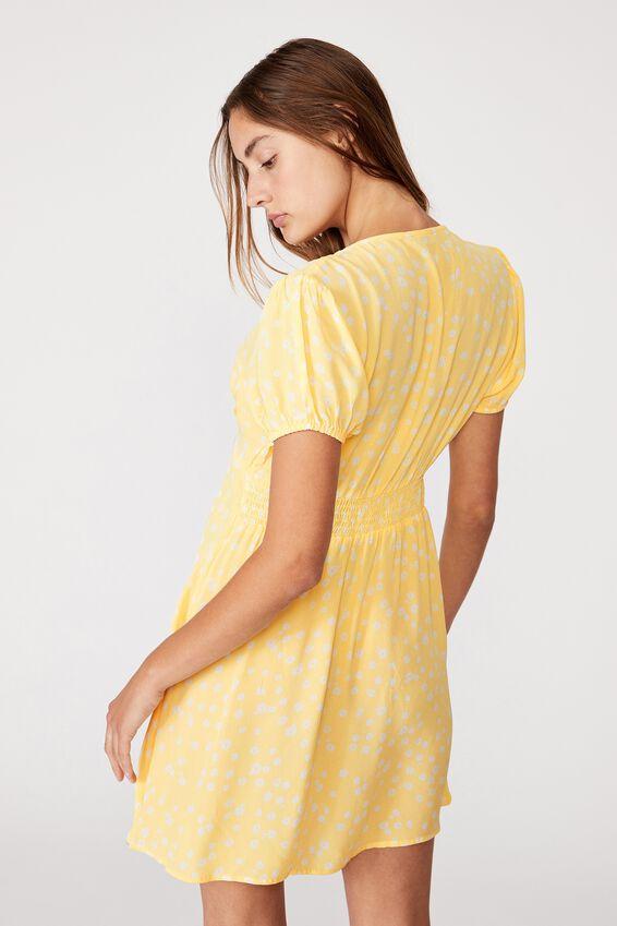 Woven Essential Button Front Mini Dress, STELLA DAISY CALI YELLOW