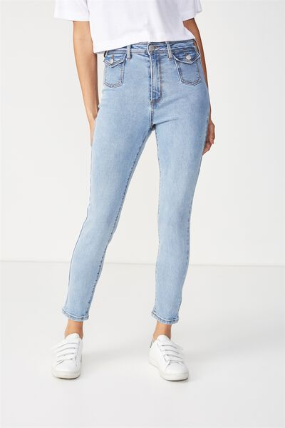 High Rise Grazer Skinny Jean, POCKET BLUE