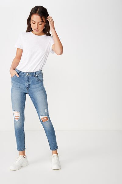 Mid Rise Grazer Skinny Jean 2, SUMMER VINTAGE BLUE RIPS