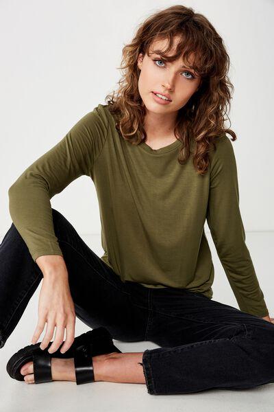 Kathleen Long Sleeve Top, WINTER MOSS