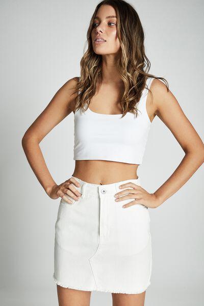 The Classic Denim Skirt, WHITE
