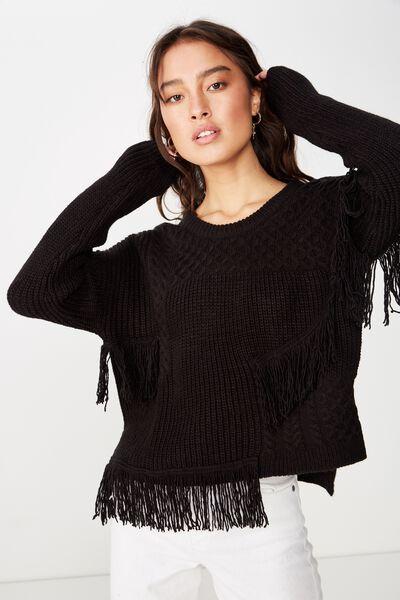 Taya Fringe Pullover, BLACK