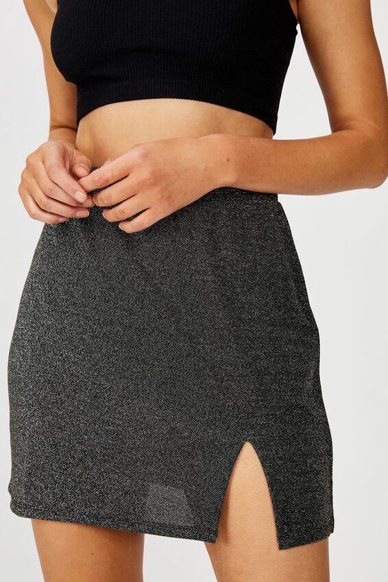 Brandy Mini Skirt, BLACK SPARKLE