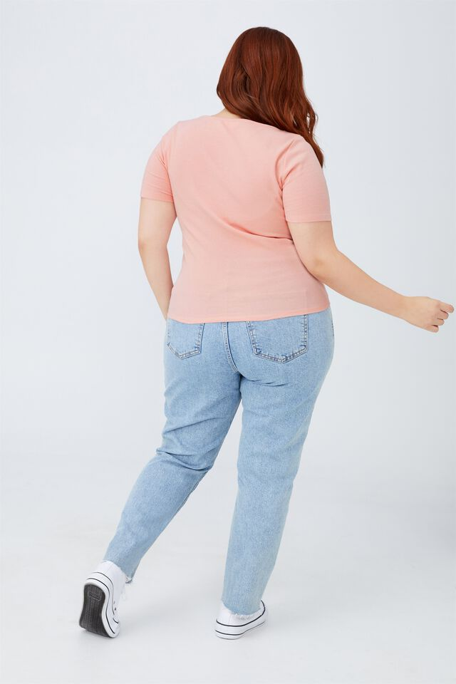Curve Sweetheart Short Sleeve Top, DUSTY PINK