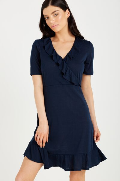 Rhianna Short Sleeve Frill Dress, MOONLIGHT