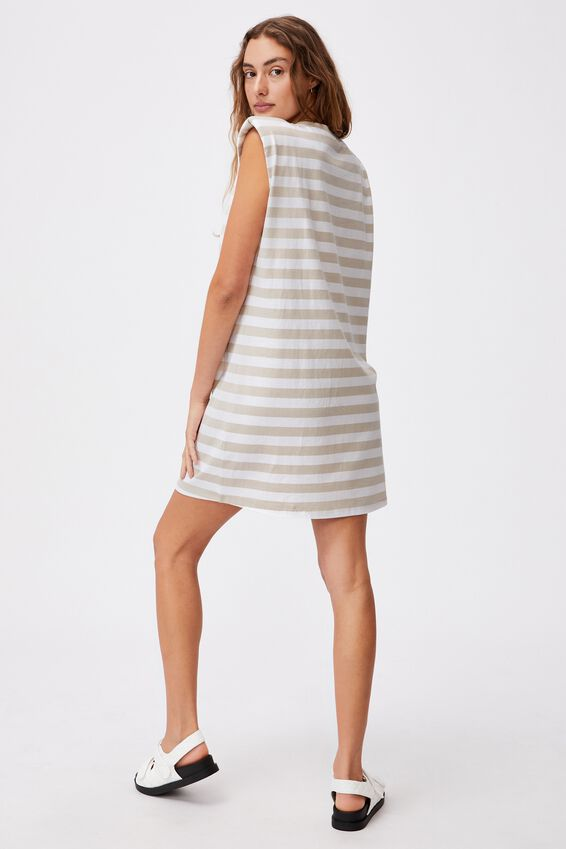 Lew Muscle Tank Mini Dress, SULLY RESORT STRIPE TAUPE