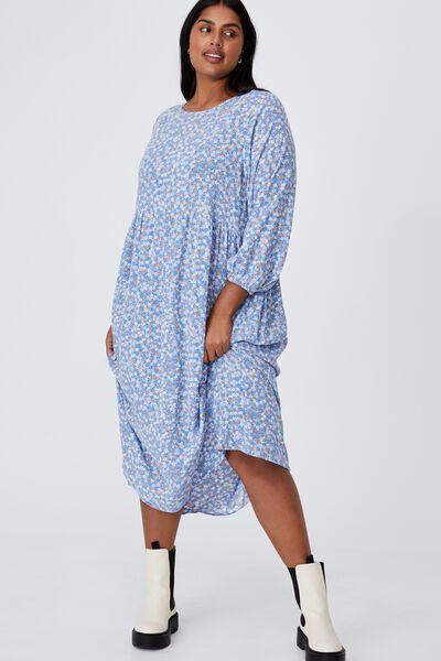 Curve Good Times Babydoll 3/4 Sleeve Maxi Dress, KENDELLE DITSY DUSK BLUE
