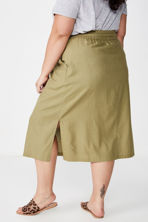 Curve Linen Draw Cord Skirt, LIGHT OLIVE