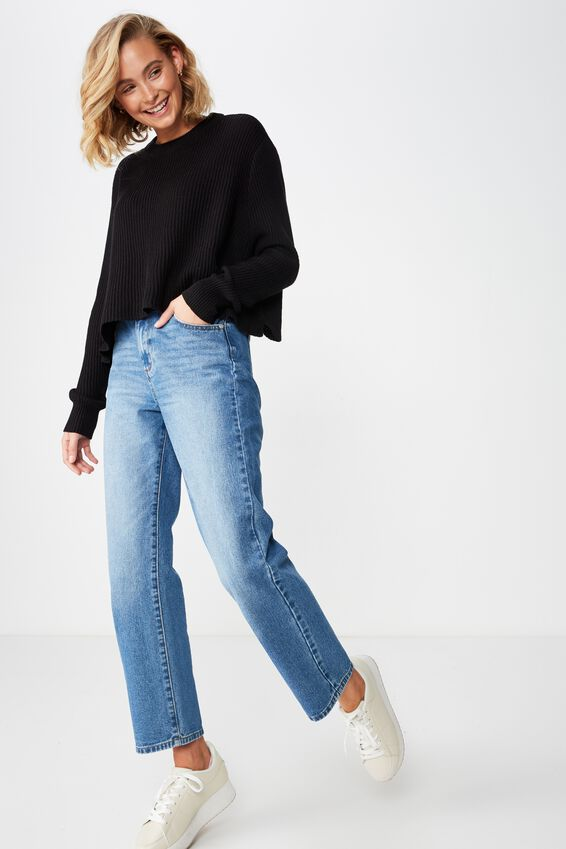 Archy Cropped 2 Pullover, BLACK