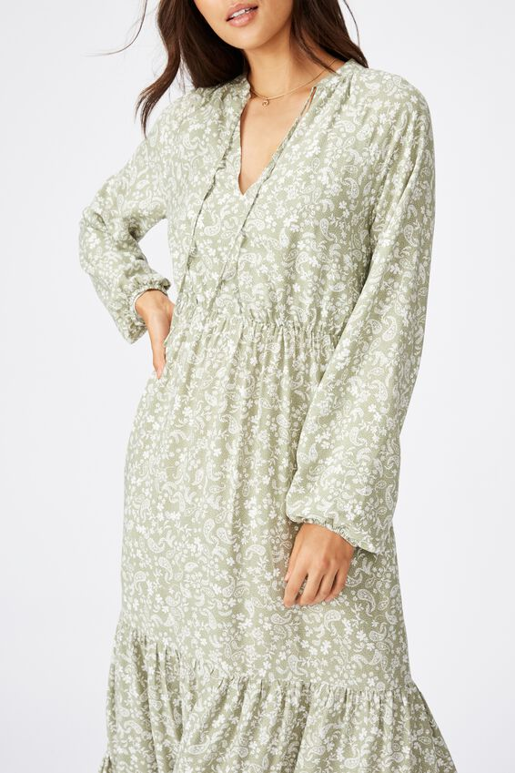 Woven Michelle Long Sleeve Maxi Dress, BLAIR FLORAL PAILSEY TEA