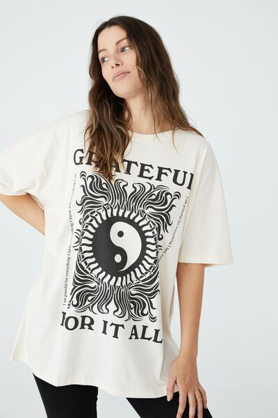 Oversized Graphic T Shirt Dress, GRATEFUL/WHITE SAND