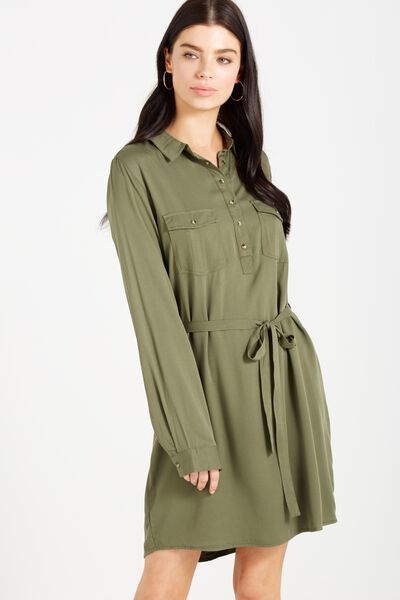 Woven Tammy Long Sleeve Shirt Dress, SOOT