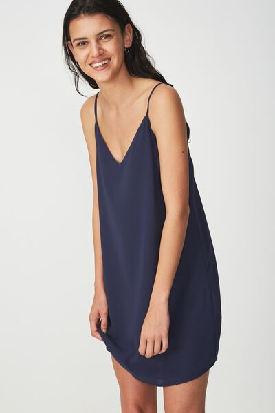 Woven Margot Slip Dress, NAVY