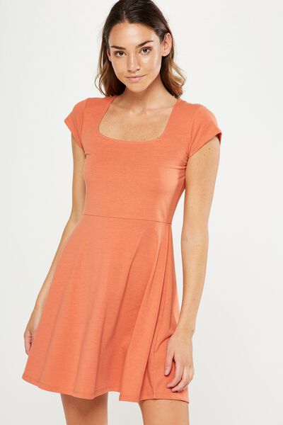 Winona Scoop Neck Fit And Flare Dress, BURNT SIENNA