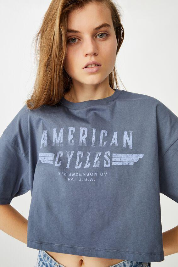 Chopped Boyfriend Tee, AMERICAN CYCLES/VINTAGE NAVY