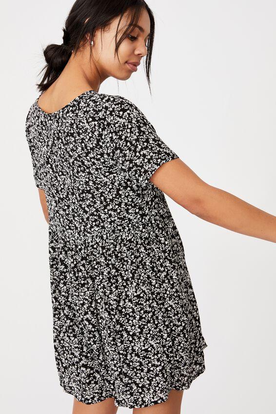 The Good Times Babydoll Mini Dress, ELLIS DITSY BLACK