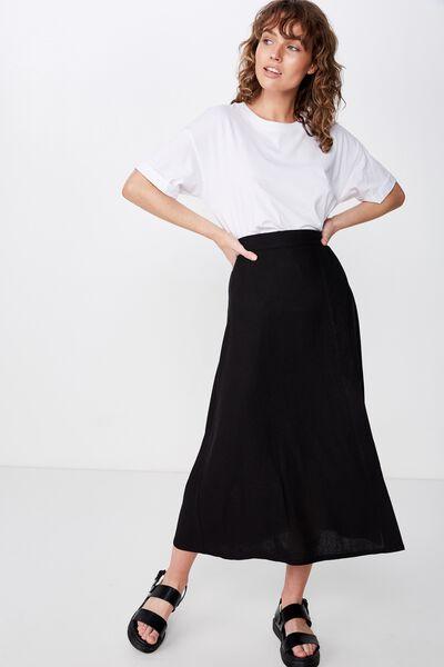 Woven Whitney Midi Skirt, BLACK
