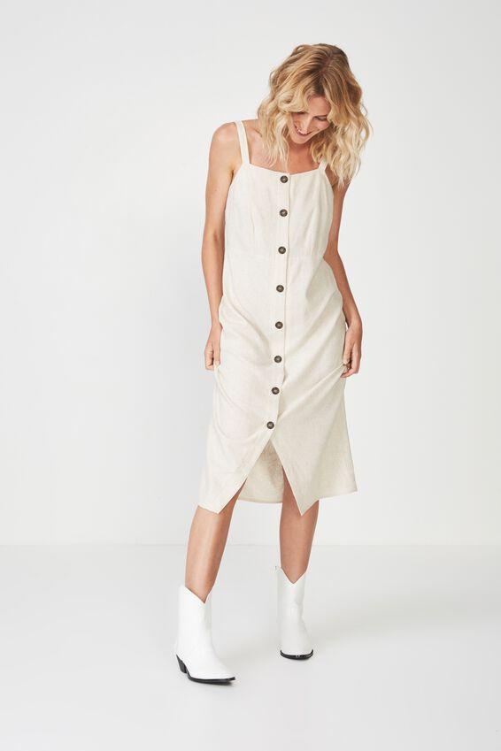 Woven Lush Button Through Midi Dress, LATTE MARLE