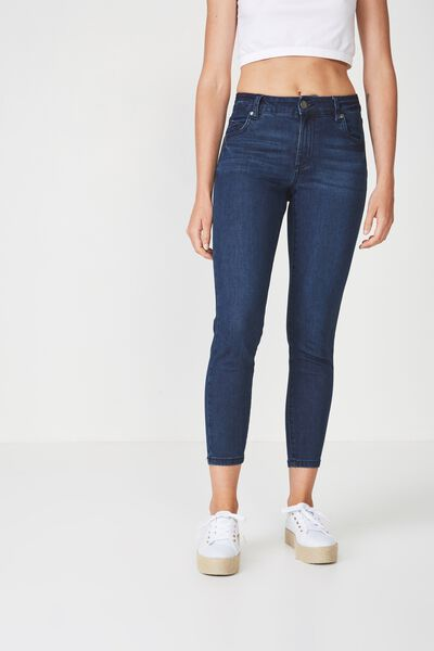 Mid Rise Grazer Skinny Jean, DEEP BLUE RINSE