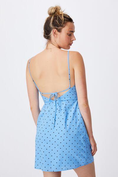 Woven Ally Strappy Aline Tennis Mini Dress, DOTTY SPOT COLLEGIATE BLUE
