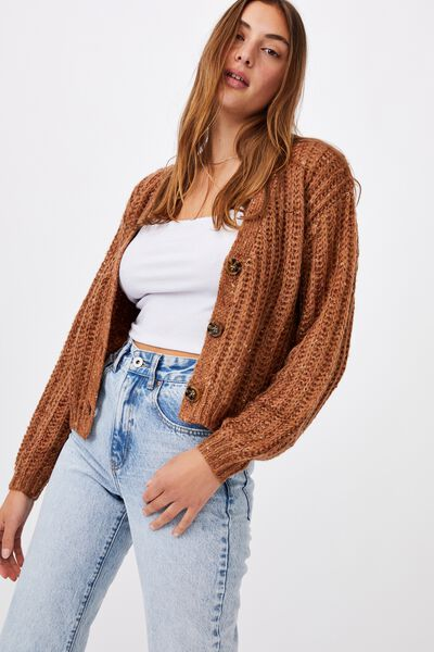 Multi Yarn Cropped Cardi, CAMEL MULTI
