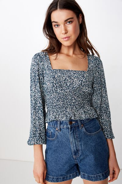 Mishay Shirred Peplum L/S Top, ISSY DITSY TOTAL ECLIPSE