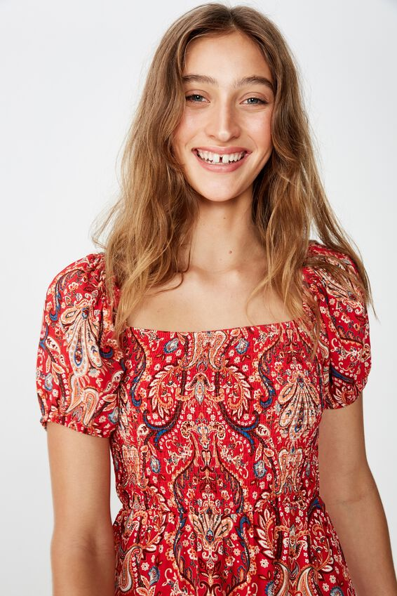 Woven Molly Prairie Mini Dress, MARIA PAISLEY RACER RED