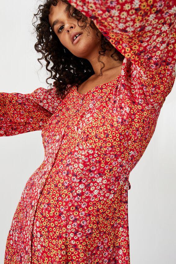 Woven Natasha Square Neck Long Sleeve Mini Dress, MANDY MULTI DITSY SCARLET
