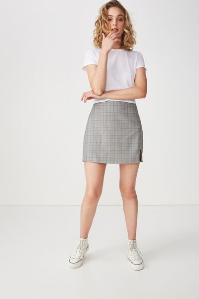 Woven Casual Mini Skirt, MULTI CHECK