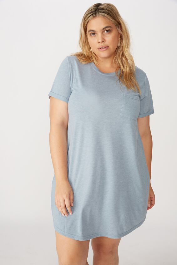 Curve Relaxed Tee Dress, FADED BLUE MARLE