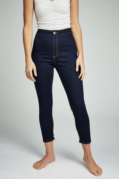 High Rise Capri Jegging, BLUE RINSE