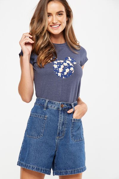 Tbar Friends Graphic Tee, LCN MICKEY LANA FLORAL/MOONLIGHT MARLE