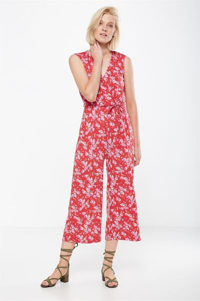 Jersey Joss Culotte Jumpsuit, ELLA SPLICED FLORAL RED
