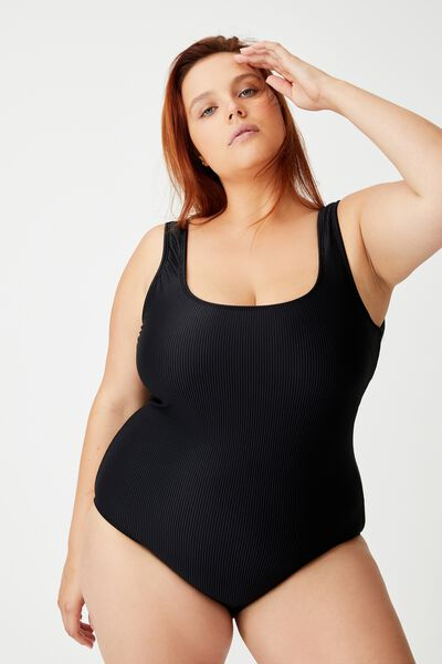 Curve Wide Strap One Piece Full, BLACK RIB