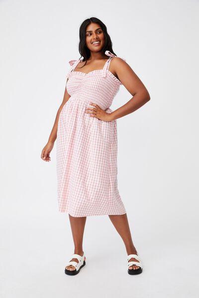 Curve Shirred Samantha Midi Dress, GERI GINGHAM FAIRY FLOSS