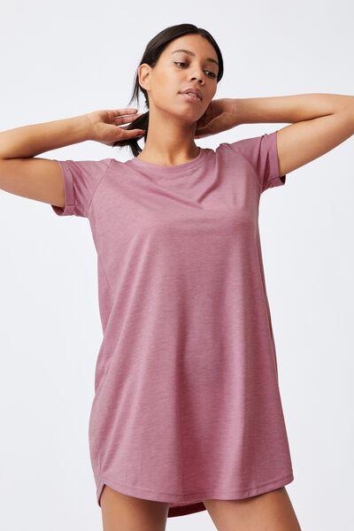 Tina Tshirt Dress 2, SOFT MAUVE MARLE