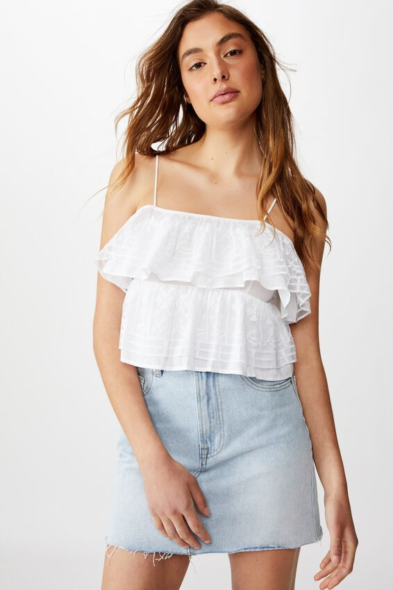 Field Days Lace Frill Cami, WHITE